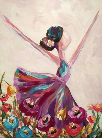 Painting by Giselle Denis Canadian fine artist of a ballerina dancer dancing in a field of flowers.