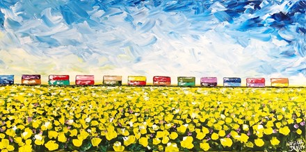 Painting by Giselle Denis Canadian fine artist of a canola field with a colourful train under a blue sky.