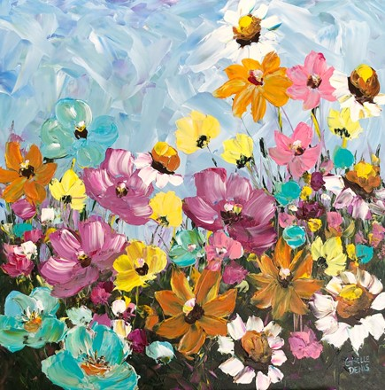 Painting by Giselle Denis Canadian fine artist of wildflowers on a blue sky background.