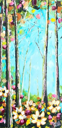 Painting by Giselle Denis Canadian fine artist of a colourful forest with flowers in the foreground under a blue sky.