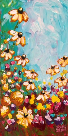 Painting by Giselle Denis Canadian fine artist of yellow flowers, brown eyed susans and red flowers under a blue sky.