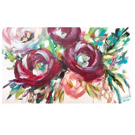 Painting by Giselle Denis Canadian fine artist of burgundy red and pink flowers on a white background with a dripping effect.