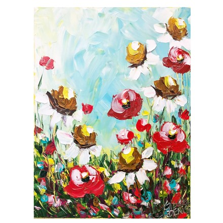 Painting by Giselle Denis Canadian fine artist of daisies and poppies under a blue sky with colourful foliage.