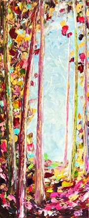 Painting by Giselle Denis Canadian fine artist of a colourful forest wth golds, pinks red, greens and blues.