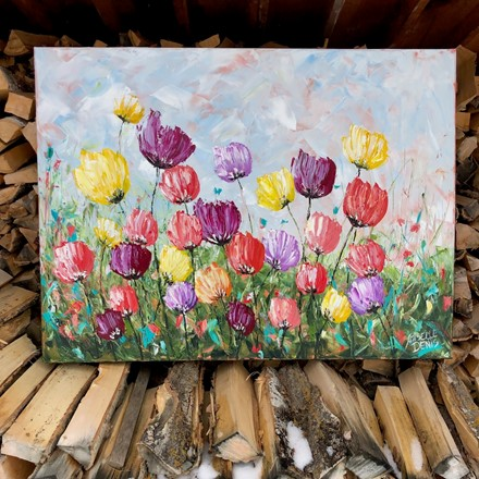 Painting by Giselle Denis Canadian fine artist of a colourful field of tulips.