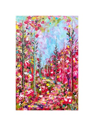 Painting by Giselle Denis Canadian fine artist of a pink colourful forest with a pathway under a blue sky.