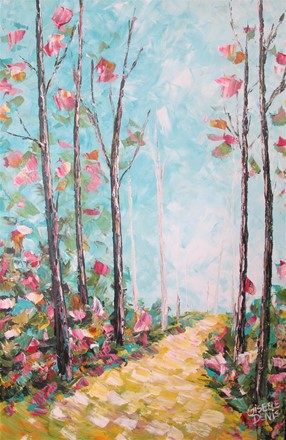 Painting by Giselle Denis Canadian fine artist of a colourful forest with pink leaves and a golden pathway