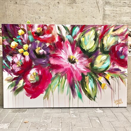 Painting by Giselle Denis Canadian fine artist of ref and burgundy abstracted flowers on a white background with colourful foliage with a dripping effect.