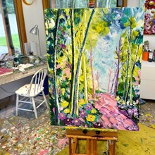 Painting by Giselle Denis Canadian fine artist of a colourful forest with a pink pathway.