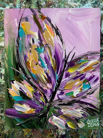 Painting by Giselle Denis Canadian fine artist of a colourful butterfly on a purple and green background.