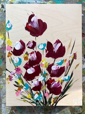 Painting by Giselle Denis Canadian fine artist of burgundy red, blue, yellow, orange pink and white flowers  on a birch wood background.