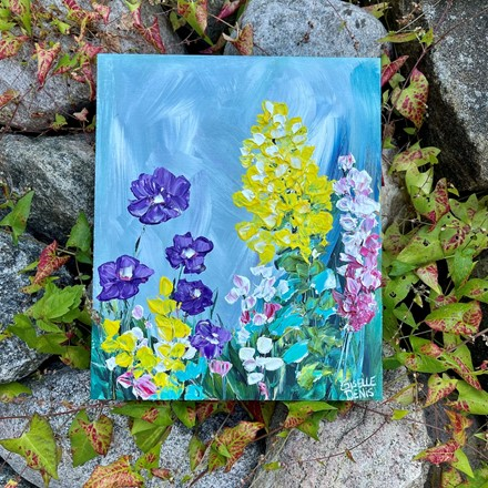 Painting by Giselle Denis Canadian fine artist of yellow and purple and pink flowers.