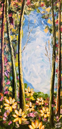 Painting by Giselle Denis Canadian fine artist of a colourful forest with yellow and pink flowers in the foreground.