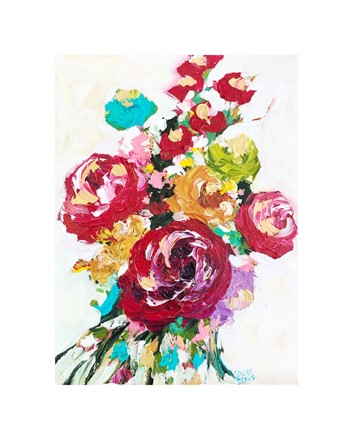 Painting by Giselle Denis Canadian fine artist of a colourful bouquet of flowers on a white background.