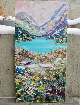 Painting by Giselle Denis Canadian fine artist of colourful mountains a kale and wildflowers and grasses