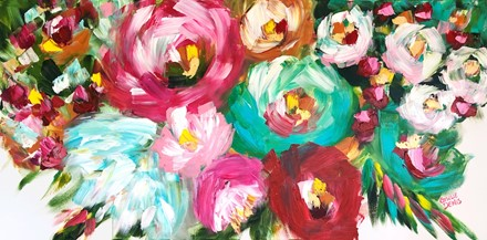 Painting by Giselle Denis Canadian fine artist of abstracted colourful flowers on a white background.