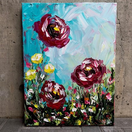 Painting by Giselle Denis Canadian fine artist of red and yellow flowers under a blue sky.