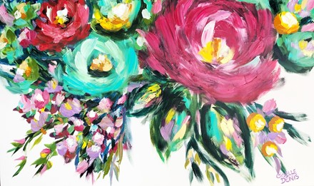 Painting by Giselle Denis Canadian fine artist of bright, bold abstracted flowers in pink, blue and red on a white background.
