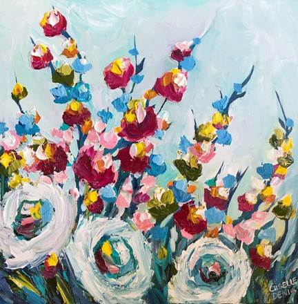 Painting by Giselle Denis Canadian fine artist of red, white, yellow and blue flowers on a light blue background.