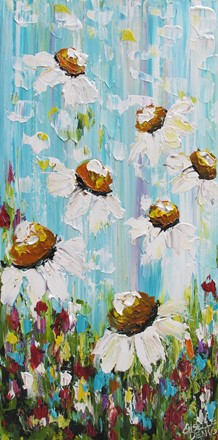 painting by Giselle Denis Fine Artist of daisies with colourful background