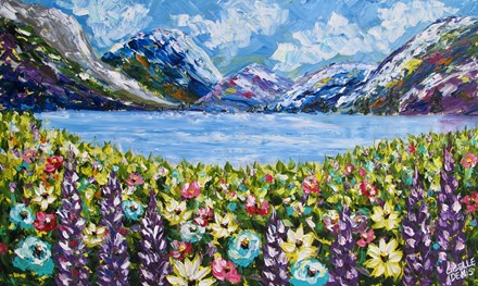 Painting by Giselle Denis Fine Artist of mountains, a lake and wildflowers