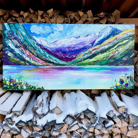 Painting by Giselle Denis Canadian fine artist of lake louise mountains and lake.