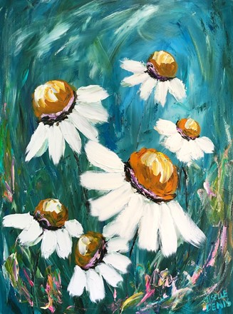 Painting by Giselle Denis Canadian fine artist of white daisies floating under a blue sky.