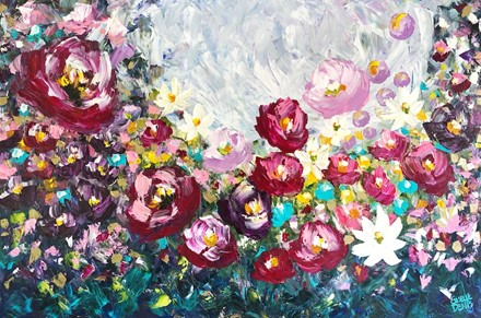 Painting by Giselle Denis Canadian fine artist of burgundy, red, pink, purple and white flowers under a blue grey sky.