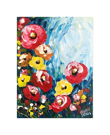 Painting by Giselle Denis Canadian fine artist of red and yellow poppies under a blue sky.