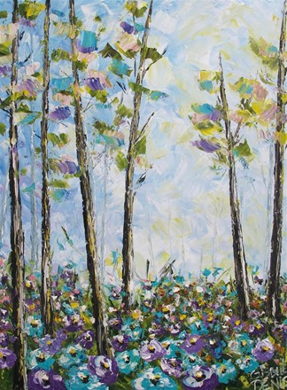 Painting by Giselle Denis Canadian fine artist of a teal and purple forest with wildflowers
