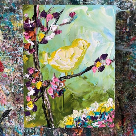Painting by Giselle Denis Canadian fine artist of a yellow bird on a tree branch with flowers.