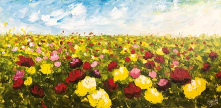Painting by Giselle Denis Canadian fine artist of a field of red and yellow, pink and orange flowers.