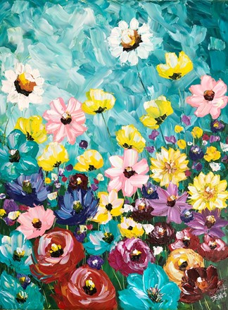Painting by Giselle Denis Canadian fine artist of a colourful field of wildflowers under a turquoise sky.