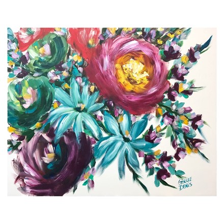 Painting by Giselle Denis Canadian fine artist of abstracted pink, purple, green and blue flowers on a white background.