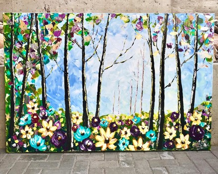 Painting by Giselle Denis Canadian fine artist of a colourful forest with wildflowers under a blue sky.