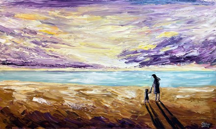 Painting by Giselle Denis Canadian fine artist of a mother & son on a beach holding hands at sunset.