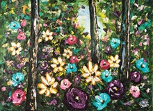 Painting by Giselle Denis Canadian fine artist of a full forest of leaves and colourful wildflowers.
