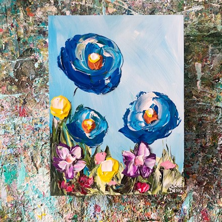 Painting by Giselle Denis Canadian fine artist of blue poppies with pink, yellow and red flowers.