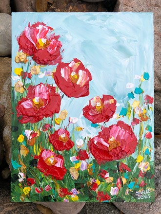 Painting by Giselle Denis Canadian fine artist of red poppies under a blue sky.