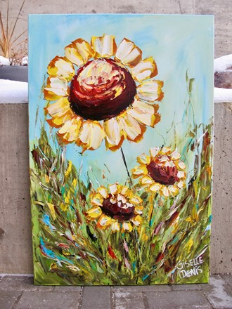 Painting by Giselle Denis Canadian fine artist of sunflowers under a blue sky with green grasses.