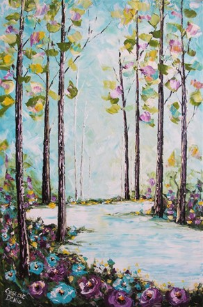 Painting by Giselle Denis Canadian fine artist of a forest with purple and turquoise flowers with a lake