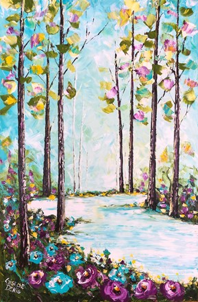 Painting by Giselle Denis Canadian fine artist of a forest with a  lake and blue and purple flowers in the foreground on a blue sky.
