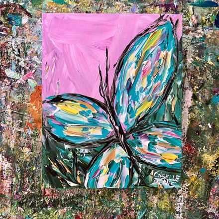 Painting by Giselle Denis Canadian fine artist of a turquoise butterfly on a pink violet background.