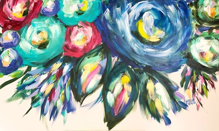 Painting by Giselle Denis Canadian fine artist of abstracted colourful flowers with a giant blue flower and colourful foliage on a white background.