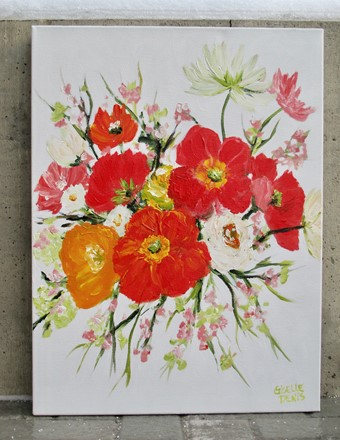 Painting by Giselle Denis Canadian fine artist of a cluster of flowers in a bouquet form of poppies and other wildflowers