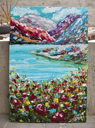 Painting by Giselle Denis Canadian fine artist of colourful mountains, a lake and wildflowers.