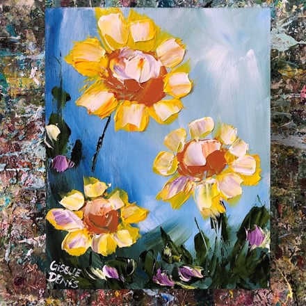 Painting by Giselle Denis Canadian fine artist of yellow flowers on a blue background.