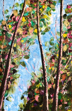 Painting by Giselle Denis Canadian fine artist of a view of the tops of trees in a colourful forest under a blue sky during fall or autumn.