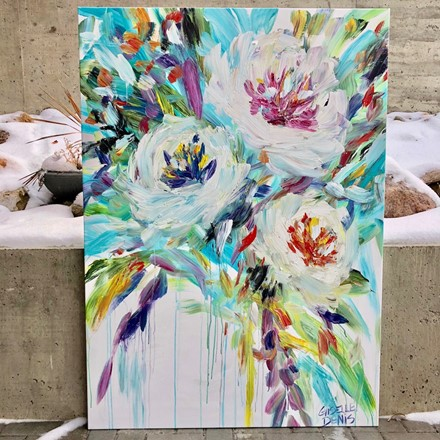 Painting by Giselle Denis Canadian fine artist of abstracted white flowers with colourful foliage on a white background.