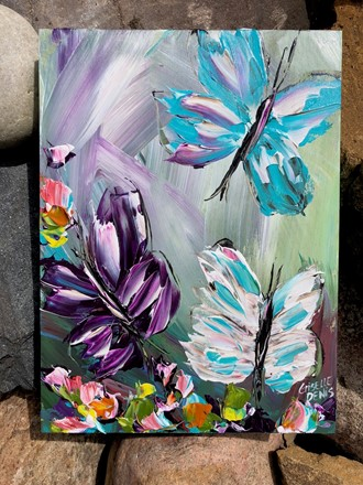 Painting by Giselle Denis Canadian fine artist of a turquoise, purple and white butterfly with colourful flowers on a colourful background.
